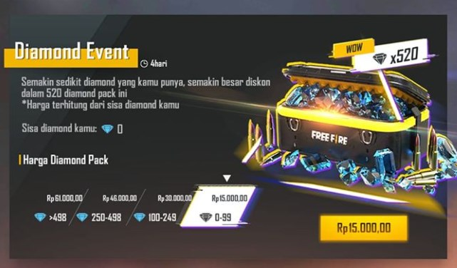 diamond event free fire 2020